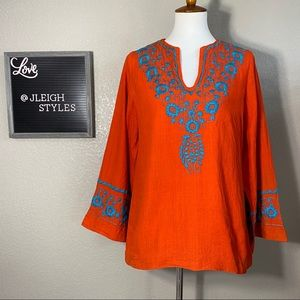 Vintage 60's Embroidered Orange Cotton Top